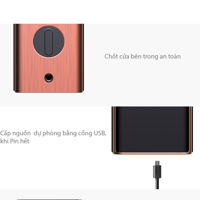 chốt khóa an toàn và khe cắm cấp nguồn USB